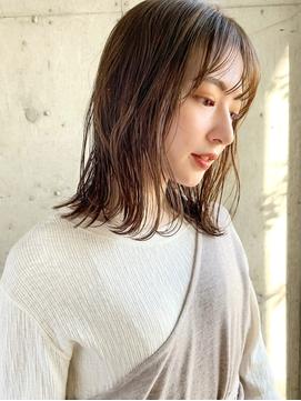 【松尾】大人かわいい ロブヘア 前髪 ベージュカラー