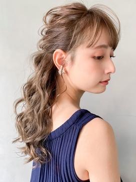大人かわいい小顔ハーフアップポニーテール編み込み 着物 モテ髪