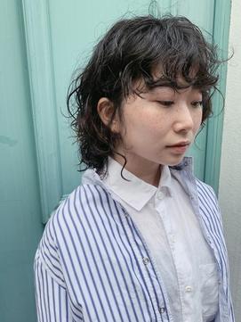 (stylist朝居)ハードなウルフパーマ