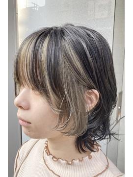 フェイスフレーミング インナーカラー ウルフカット 派手髪