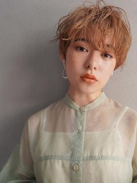 マッシュ/イメチェン前髪/パーマ/オレンジカラー/髪質改善/20代