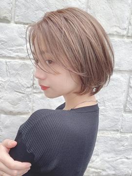 【東 純平】大人可愛いレイヤーボブ+マロンベージュ