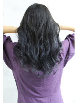 【Blanc/難波】グラデーションカラー/ブルーグレー/黒髪