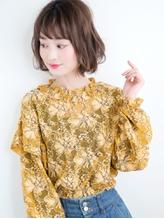☆旬味ボブガール☆遊ばせ束感Cラインショートバング×カール♪ フェミニン.37