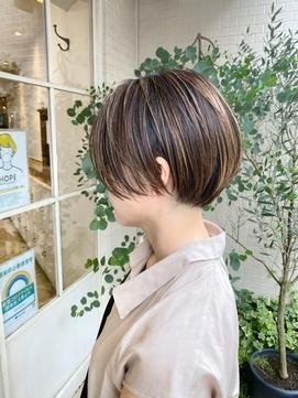 前髪なしショートボブ ココアブラウンセシルカット梅ヶ丘美容院