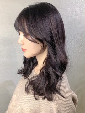 ツヤ髪カラー/韓国風後れ毛レイヤー×地毛風ラベンダーカラー