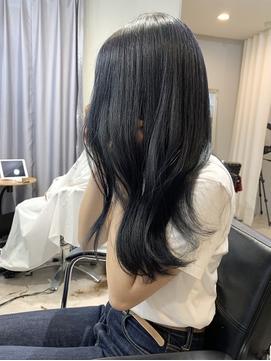 ブルーブラック/ネイビーカラー/前髪でイメチェン/くびれ巻き
