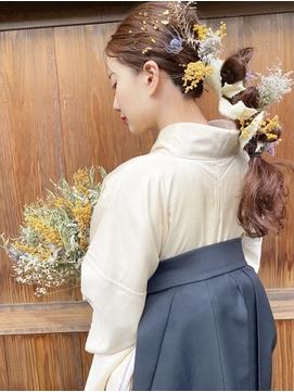 大人気スタイル、編み下ろし♪ドライフラワーヘアセット