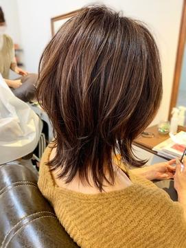 【添田】ウルフカット/ハイライト/ピンクベージュ/ボブルフ