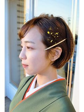 卒業式~レトロな袴に金箔を添えて~