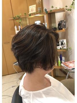 【夏の白髪染め】オレンジゴールド☆ハイライト×シエナグリーン