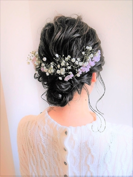 生花のウェディングヘアセット