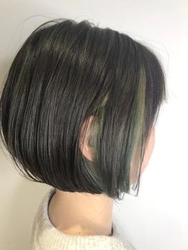 【チラ見せインナーカラー×サワーグリーン】黒岩