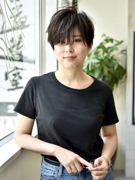 黒髪ハンサムショートサイドグラデーションジグザグバング★