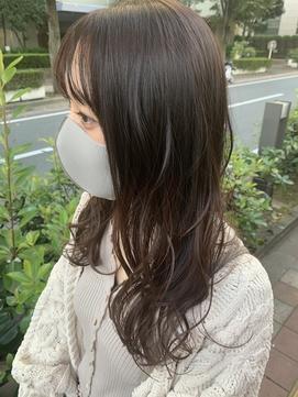 ショコラブラウン/ゆるふわパーマ/コテ巻きウェーブ