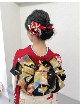 【#わだむすび】振袖着付け 成人式黒髪シニヨンアレンジ1