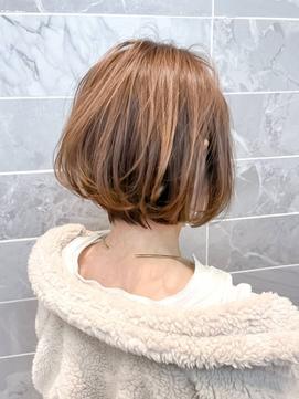 【AUBE HAIR】大人ボブ_オリーブハイライト