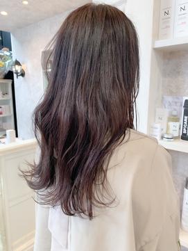 福山市美容室Caary人気 おすすめ美髪ダークピンクカラー
