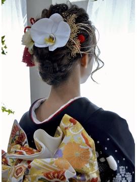 【コトノハ】胡蝶蘭ヘアー 成人式 卒業式 振袖 袴ヘアー着物ヘア