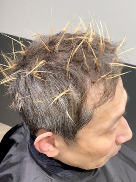 【解説】白髪隠しメッシュビジネスカジュアル刈り上げ短髪