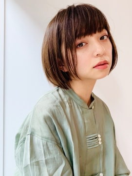 M.SLASHセンター北/ぱっつんボブ/小顔/艶カラー/ラインカラー