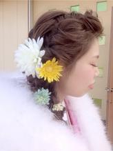 編み込みヘアセット 卒業式.36