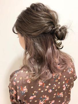春髪 ピンクパープル×インナーカラー ハーフアップ