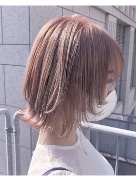▼ピンクミルクティーカラー×人気定番ウルフカット ▲
