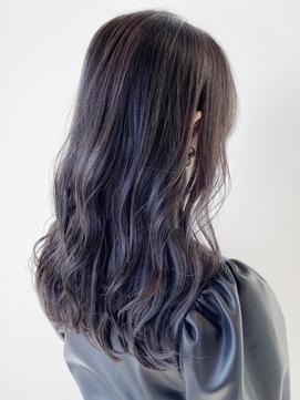 大人かわいい黒髪風暗髪ハイライトカラー