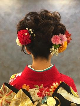 生花を使った成人式アップヘア