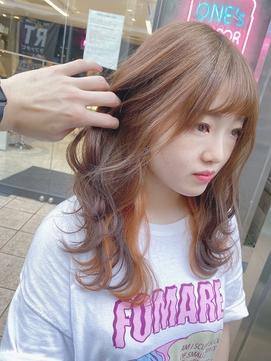 20代☆暖色系カラー☆インナーカラー☆オレンジブラウン