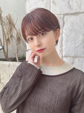【東 純平】小顔耳掛け丸みショート+ピンクベージュ