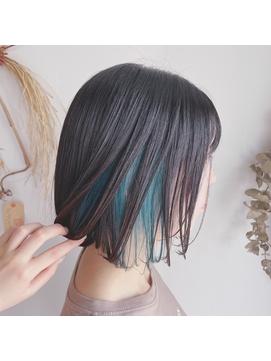 【夏スタイル】涼しげヘア インナーカラー / ブルーグリーン