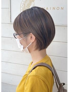 マロンベージュニュアンスマッシュ前髪ありショート梅ヶ丘美容室
