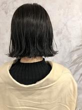 【ミニボブ】【暗髪】ボブ/外ハネ/ブルーブラック/ダークグレー.34