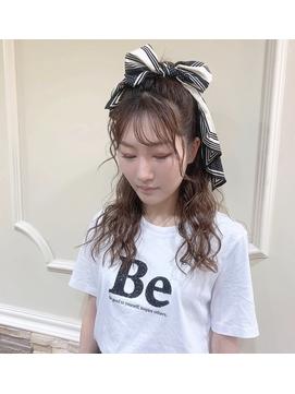 スカーフアレンジ・ハーフアップ