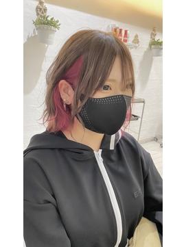 【インナーカラー】ピンク&オレンジハイライト