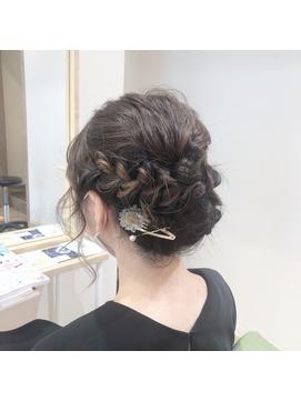 編み込みヘアセット 結婚式