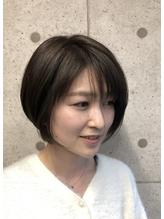 [底明度カラーでも透明感を☆]カーキアッシュ×ショートボブ♪ .33