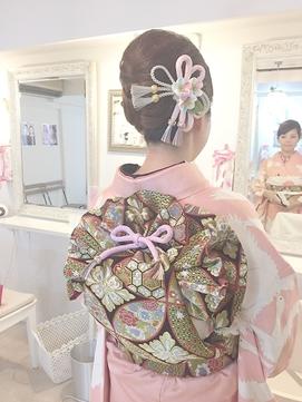 【着物ヘア】お着物にすっきりアップと宝巾着結び ヘアセット