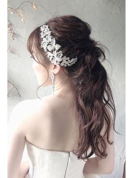 ドレスヘアアレンジセット編みおろし結婚式ヘアアレンジスタイル