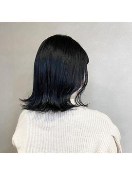 韓国風ブルーブラックとミディアムスタイル《 福島沙季 》