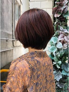 レッドブラウン/ショートパーマ/似合わせ/小顔/オフィスヘア