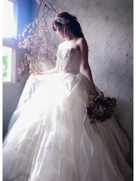 ドレスヘアアレンジセットアレンジスタイル編みおろし結婚式ヘア