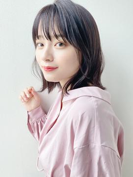 大人かわいい小顔ミディアムヘアー/黒髪/大阪&梅田&茶屋町