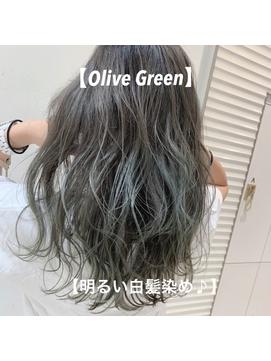 \オリーブグリーン×明るい白髪染め/