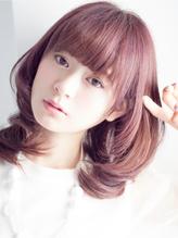 夏色暖色系ピンクカラーふんわり内巻きマッシュくびれミディアム 春色.14