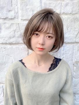 【東 純平】小顔に見える柔らかミニボブ+グレージュ
