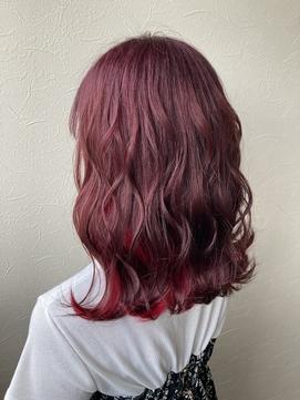 暖色系艶ハイトーンカラー ピンクアッシュ × ビビットレッド