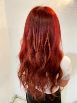 赤髪#レッド#プルエクステ#ロング#エクステ#神戸